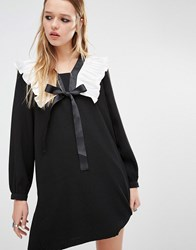 Navy London Smock Dress With Ruffle Collar And Tie Neck Detail Black