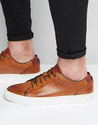 Ted Baker Kiing Leather Trainers Tan Grey
