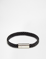 Hugo Boss Plaited Leather Bracelet Black