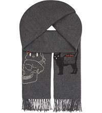 Undercover Perfect Day Illustrated Wool Scarf T.Charcoal
