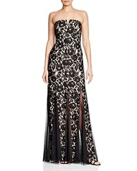 Aqua Strapless Lace Gown Black Nude