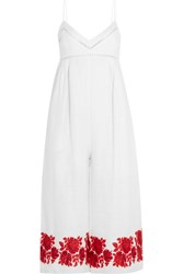 Zimmermann Roza Embroidered Linen Jumpsuit White Red