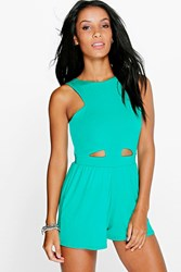 Boohoo Cut Out Front Jersey Playsuit Jade