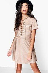 Boohoo Ani Lace Up Suedette Belted Dress Stone