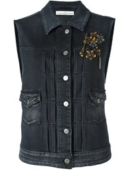 Golden Goose Deluxe Brand Embellished Denim Vest Grey