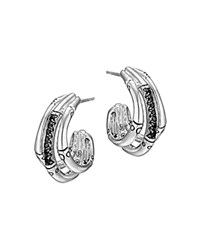John Hardy Bamboo Silver Lava Small Hoop Earrings With Black Sapphires Silver Black