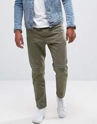 Pull And Bear Pullandbear Slim Fit Distressed Chinos In Khaki Khaki Green