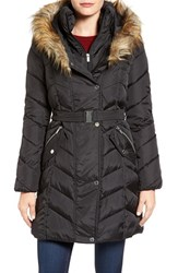 Rachel Roy Women's Faux Fur Trim Quilted Coat With Bib