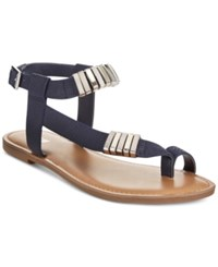 Bar Iii Verna Embelished Flat Sandals Only At Macy's Women's Shoes Navy