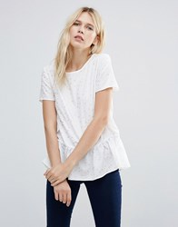 Pieces Wagna Peplum Hem Top Cloud Dancer White