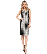 Adrianna Papell Ikat Dot Jacquard Blocked Sheath Dress Black Ivory Women's Dress