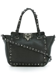 Valentino 'Rockstud Rolling Noir' Trapeze Tote Black