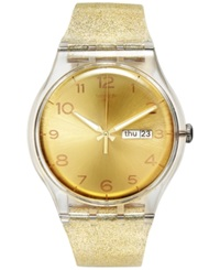Swatch Women's Swiss Golden Sparkle Gold Tone Glitter Semi Transparent Silicone Strap Watch 41Mm Suok704
