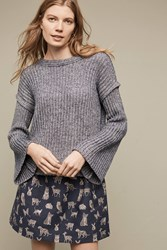 Anthropologie Cutout Cable Sweater Blue