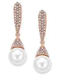 Inc International Concepts Rose Gold Tone Imitation Pearl And Pave Drop Earrings Only At Macy's