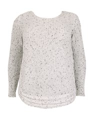 Samya Plus Size Jumper With Cable Knit Border White