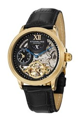 Stuhrling Men's Dual Time Bridge Elegant Automatic Watch Black