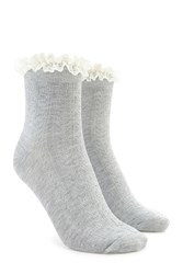Forever 21 Cable Knit Ruffle Crew Socks Grey Cream