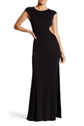Go Couture Cap Sleeve Side Cutout Maxi Dress Black