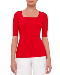 Akris Punto Half Sleeve Square Neck Tee Sport Red