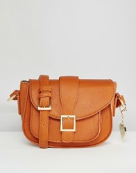 Marc B Alice Cross Body Bag With Buckle Detail Tan