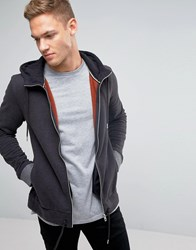 Boss Orange Ztagger Zipthru Hoodie Charcoal Grey