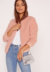 Missguided Shearling Bomber Jacket Pink