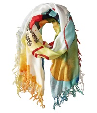 Desigual Rectangle Painter White Scarves