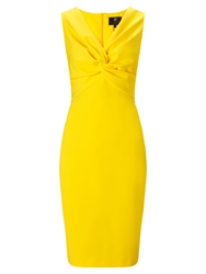 Ariella Alba V Neck Bodycon Dress Yellow