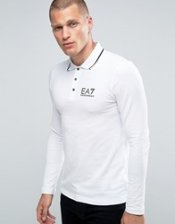 Emporio Armani Ea7 Polo Shirt With Tipping In White Long Sleeves White
