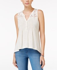 American Rag Crochet Yoke Pintucked Sleeveless Top Only At Macy's Oatmeal