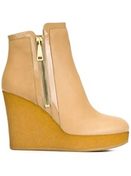 Hogan Wedge Boots Nude And Neutrals