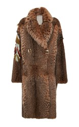 Color Temperature Long Lynx Coat With Shawl Collar Nude
