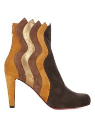 Christian Louboutin Wavy 100Mm Panelled Suede Ankle Boots Tan Multi