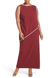Marina Plus Size Women's Embellished Overlay Sleeveless Crepe Column Gown