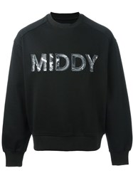 Juun.J Embroidered 'Middy' Logo Sweatshirt Black