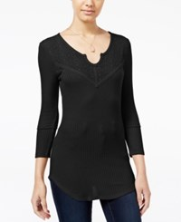 Almost Famous Juniors' Waffle Knit Top With Lace Back Black