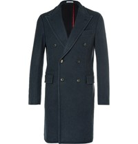 Boglioli Blue Double Breasted Wool Coat Blue