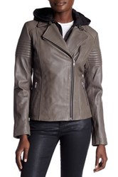 Soia And Kyo Inset Hoodie Leather Moto Jacket Gray