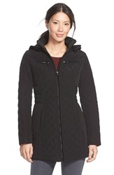 Women's Laundry By Design Corduroy Trim Hooded Quilted Coat Black