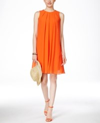 Inc International Concepts Sleeveless Pleated Trapeze Dress Only At Macy's Bright Coral