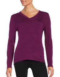Lord And Taylor Merino Wool V Neck Sweater Dark Purple