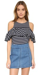 Cupcakes And Cashmere Robin Ruffle Cold Shoulder Top Stripe