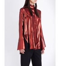 Ellery Erotic High Neck Metallic Shirt Rust