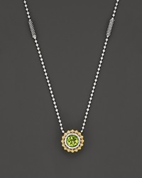 Lagos Sterling Silver And 18K Gold Pendant Necklace With Peridot 16