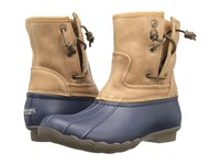 Sperry Saltwater Pearl Navy Tan Women's Rain Boots Blue