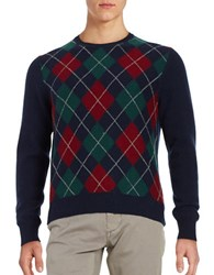 Brooks Brothers Argyle Wool Blend Sweater Navy