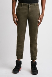 Forever 21 Garment Dyed Chino Joggers Olive