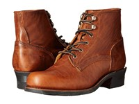 Frye Engineer Lace Up Cognac Washed Oiled Vintage Cowboy Boots Brown