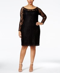 Love Squared Plus Size Long Sleeve Lace Bodycon Dress Black